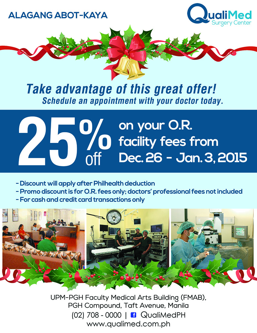 Promo 25% Discount on OR Facility Fees - QualiMed Surgery Center (Manila)
